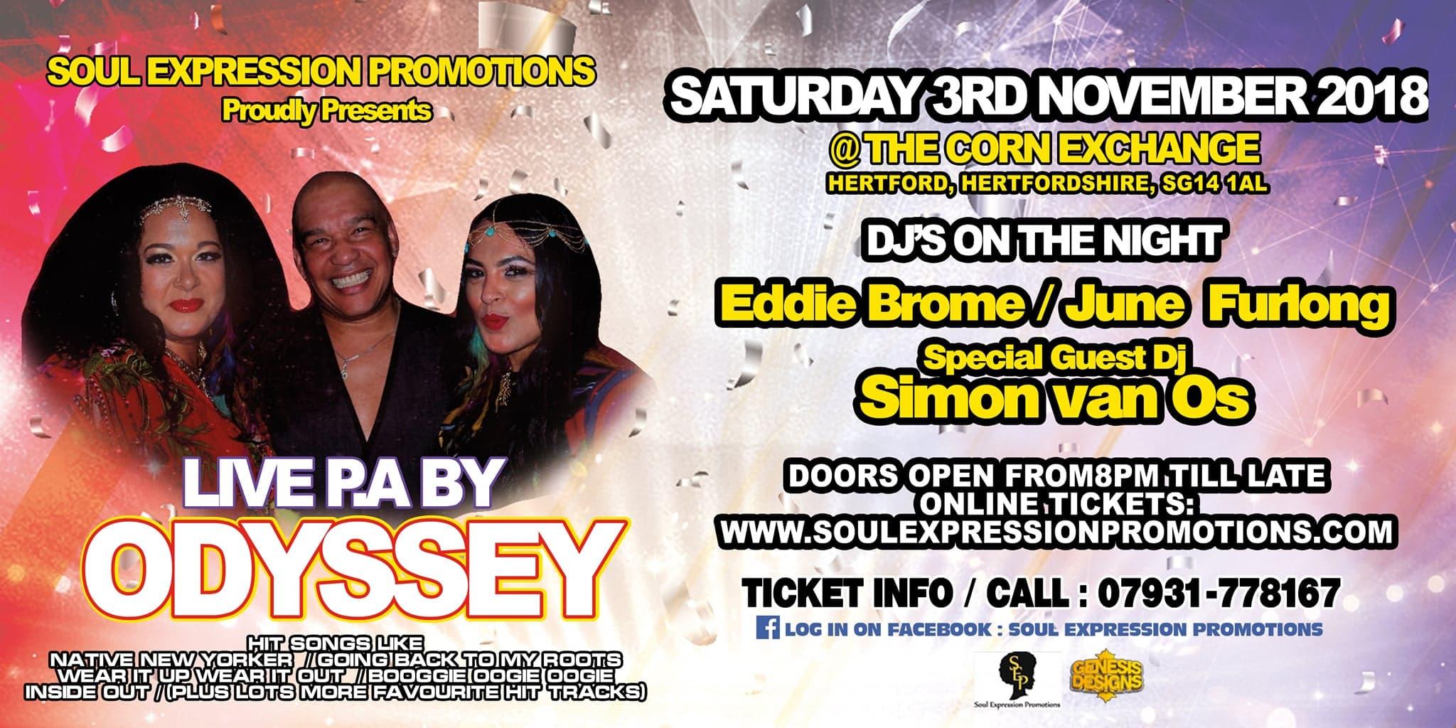 Odyssey Live in Hertford 3rd November 2018