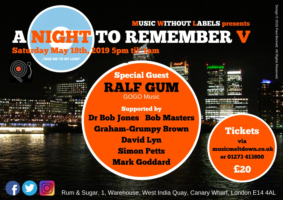 Night To Remember May 18th 2019 with Ralf Gum