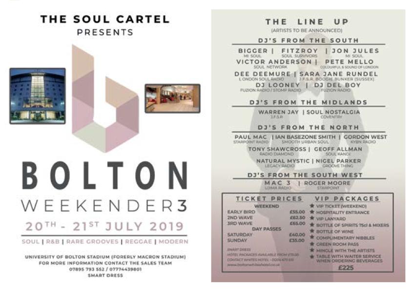 Soul Cartel Bolton Weekender 20-21st July 2019